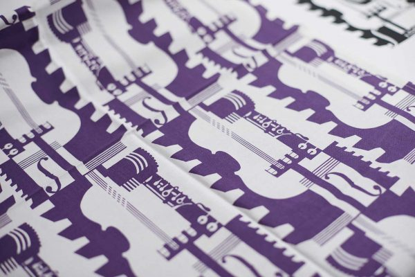 Work for the Barbican Centre by BA Textile Design Course Leader Kate Farley - Kate Farley's print pattern for the Barbican Centre showing purple orchestra instruments
