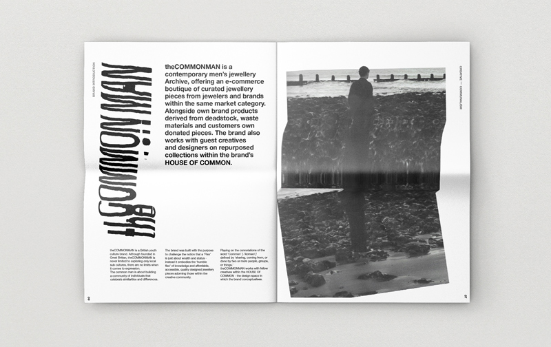 A mock-up of BA Fashion Communication and Promotion student Amy Paske's editorial design - black typography on white background with black and white imagery