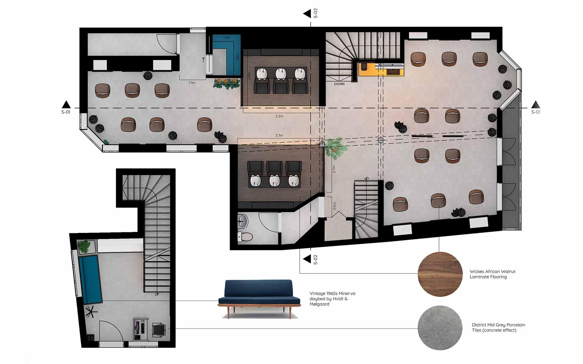 Elizabeth Barrell's render for the John Oliver refurbishment project