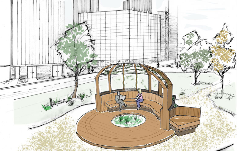 Architectural sketch of wooden garden structure by Sean Hendley
