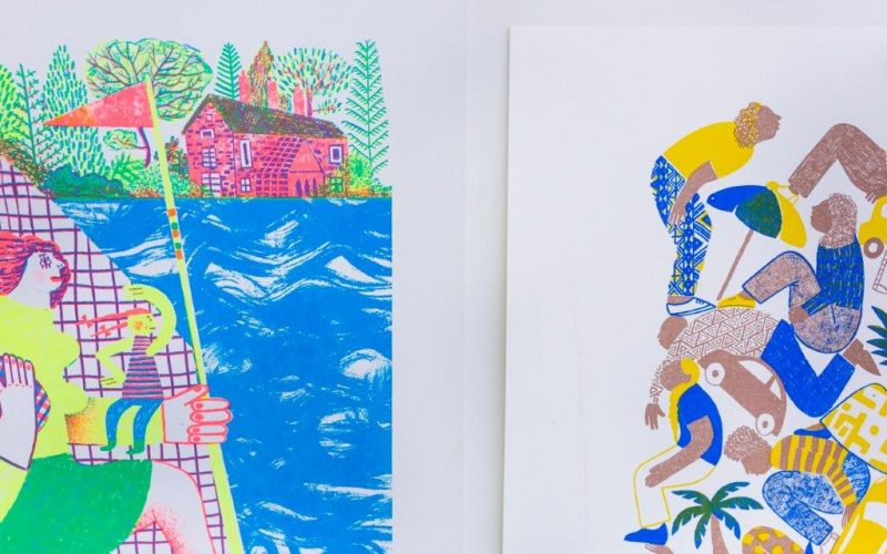 Brightly coloured prints from the NUA BA Illustration studio