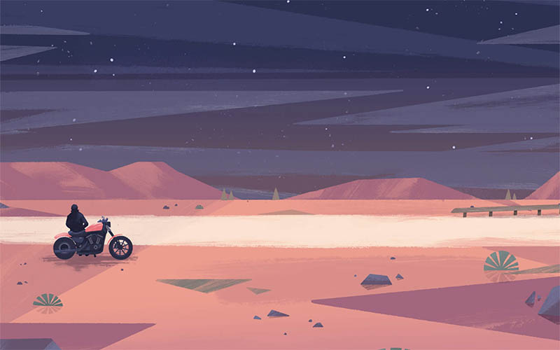 Illustration showing a figure riding a motorcycle through the desert in orange, red and purple tones