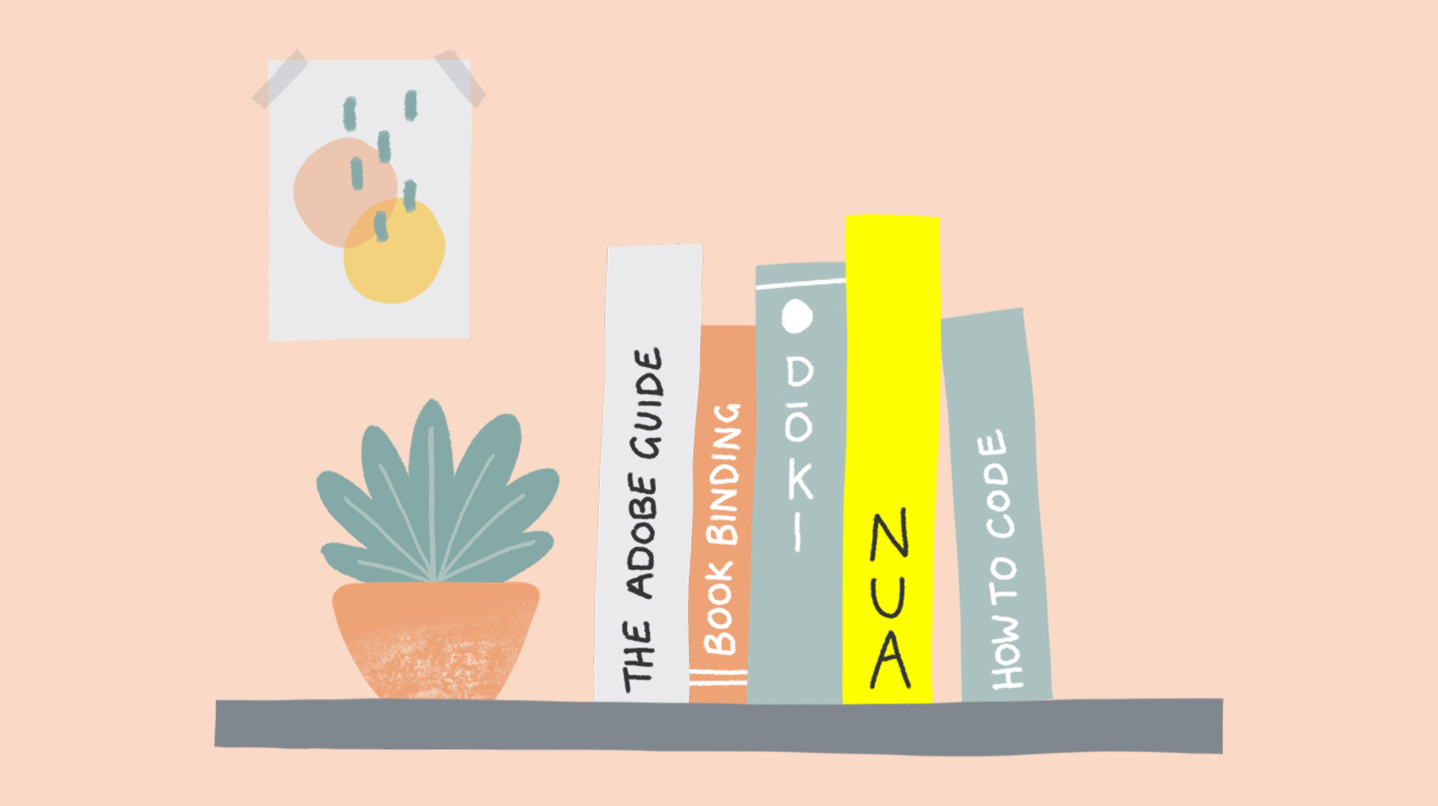 Books on a shelf illustration by MA Communication Design student Charlotte Johnston