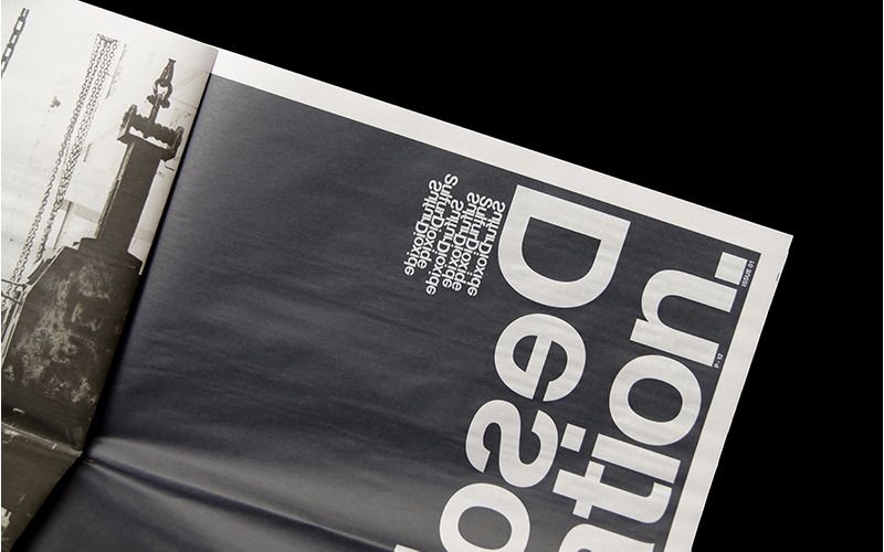 An aerial shot of typography on newsprint, designed by BA Graphic Communication graduate Jake Gilbert