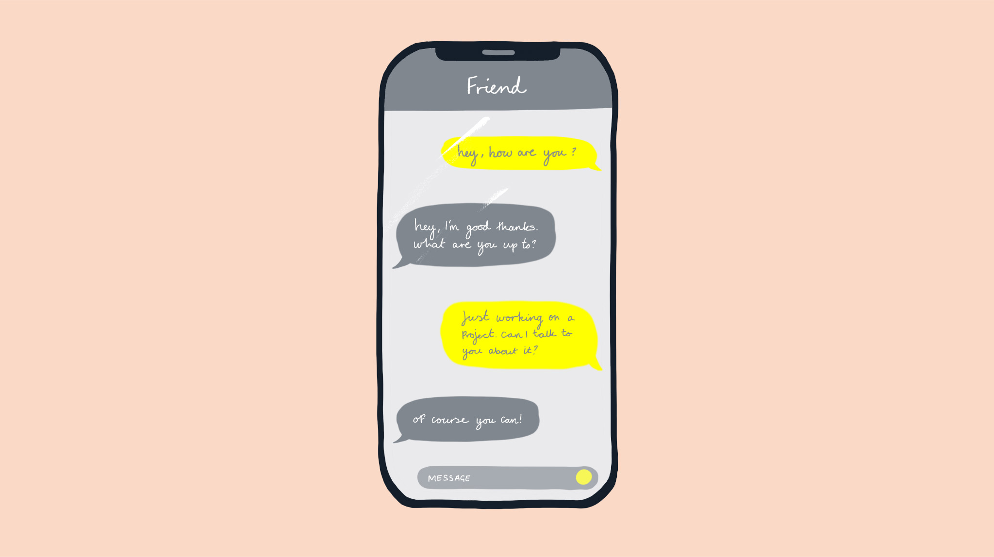 An illustration of a phone and a conversation by MA Communication Design student Charlotte Johnston