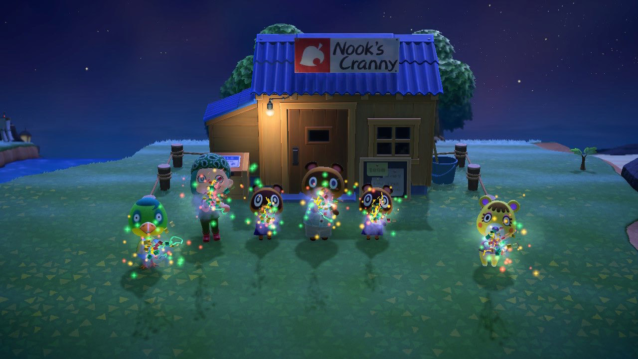 Animal Crossing screencap showing happy characters outside a hut in the field with lights