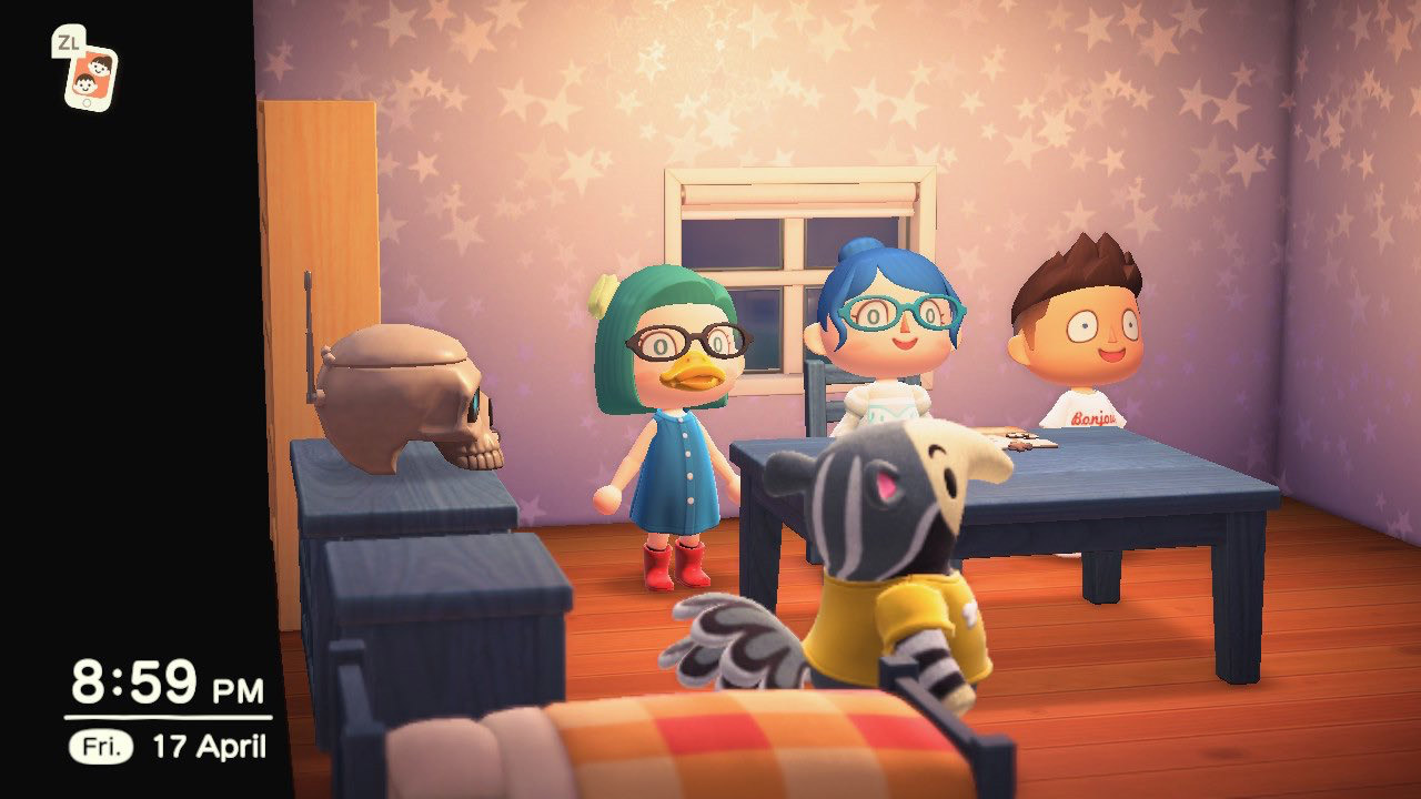 Animal Crossing screencap showing 5 characters in a room socialising