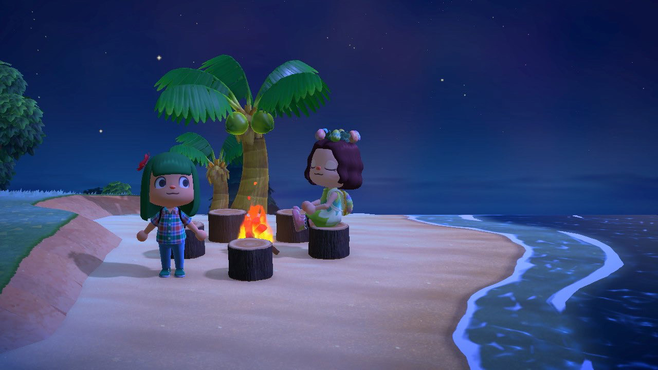 Animal Crossing screencap showing characters on a tropical beach by a palm tree
