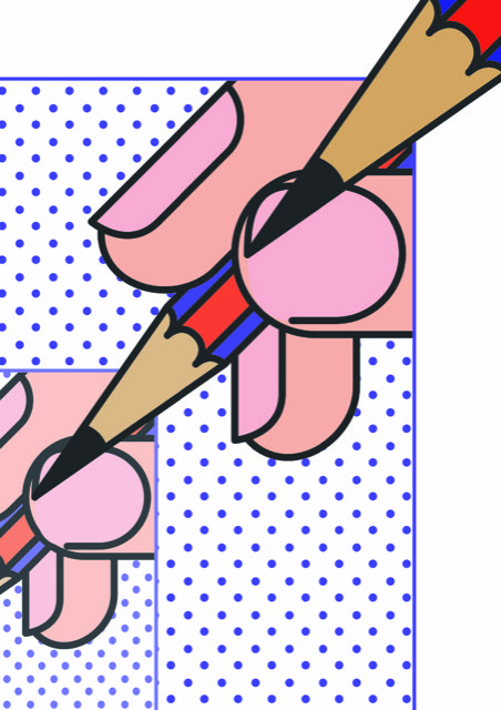6. Tim Cottrell, BA Graphic Design - Design of a vector by BA Graphic Design graduate Tim Cottrell showing a hand holding a pencil
