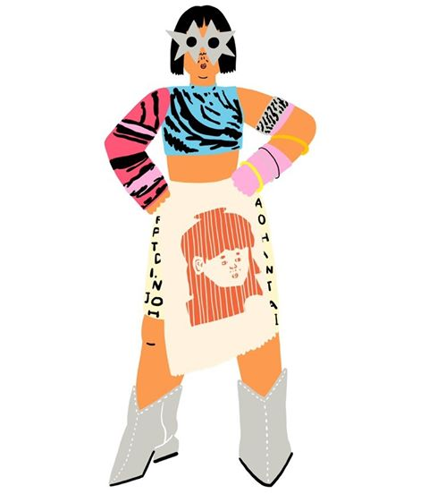 5. Jungmin Kim, BA Illustration - BA Illustration digital drawing of a character wearing a skirt with a face on, boots and a brightly coloured top and star sunglasses