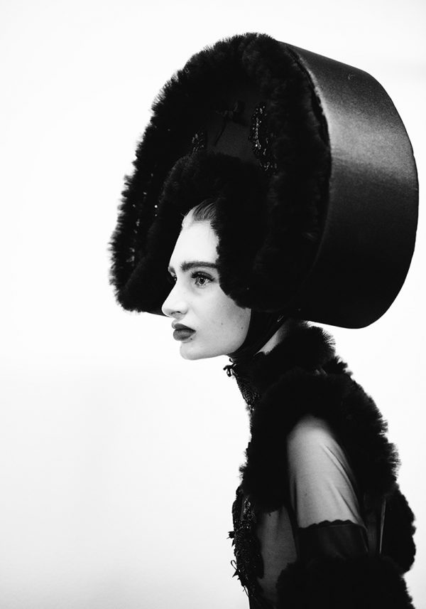 8. Kerry Curl, BA Photography - BA Photography work by Norwich University of the Arts graduate Kerry Curl - a picture of a model in black and white with a large head dress
