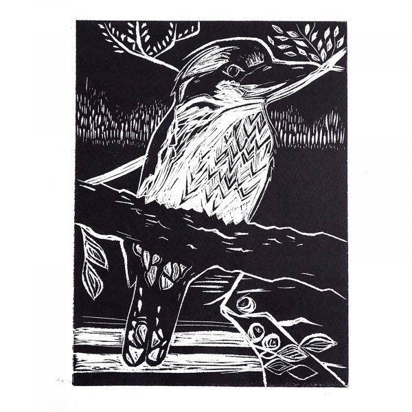 2. Sarah Kennedy, BA Photography  - Etching on a lino print by Sarah Kennedy of a bird