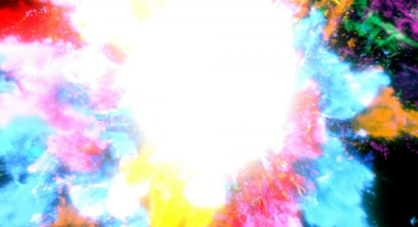 12. Rebecca Perry, BA VFX - Screenshot from BA VFX student work by Rebecca Perry, showing multiple colours in an explosion type