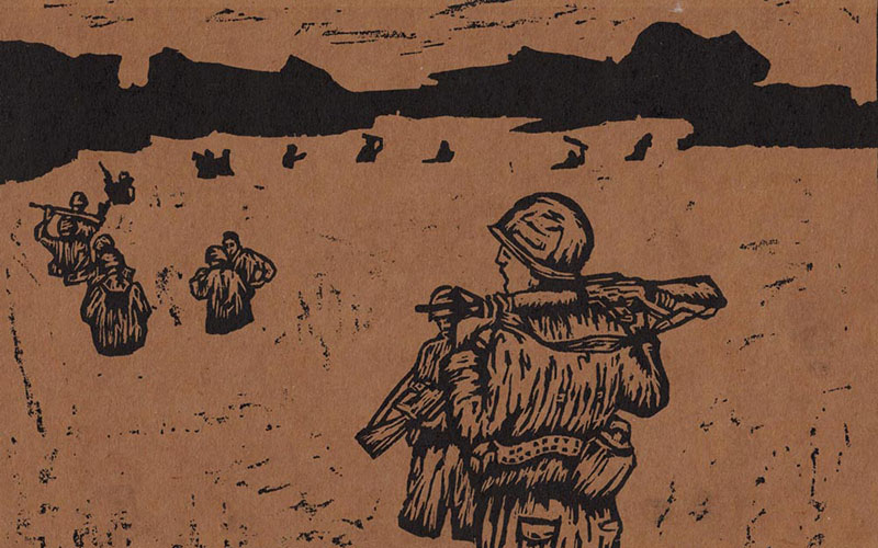 Black lino print on brown paper showing a line of men walking through a field