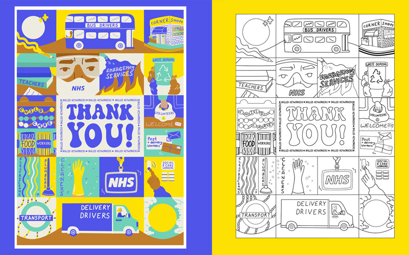 BA Illustration graduate Erin Aniker's artwork thanking skilled key workers throughout the COVID-19 pandemic. Multiple squares filled with illustrations of each key worker sector surround a 'thank you!' in the middle. The right hand side of the picture shows the shame artwork but outlined only, ready for colouring in