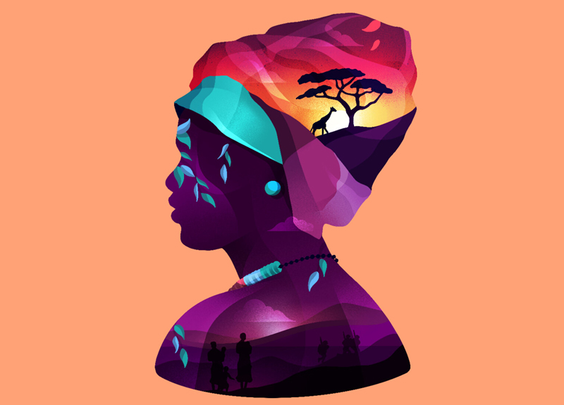 BA Illustration graduate Ollie Hirst's illustration for The Big Issue, which has been longlisted in the Association of Illustrators World Illustration Awards 2020. The digital illustration is of an Ethiopian woman bust, made up of multiple colours and scenes such as African sunsets