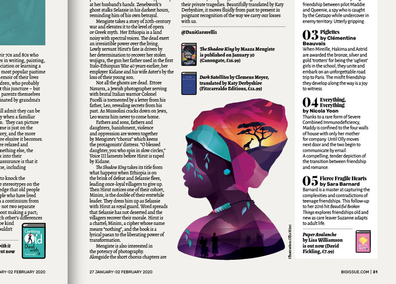 BA Illustration graduate Ollie Hirst's illustration for The Big Issue, which has been longlisted in the Association of Illustrators World Illustration Awards 2020. The digital illustration is of an Ethiopian woman bust, made up of multiple colours and scenes such as African sunsets. Seen here on the editorial page of The Big Issue