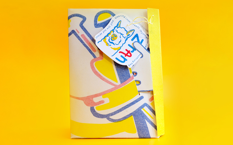 BA Illustration graduate Sophie Cane's work which has been longlisted in the Association of Illustrators World Illustration Awards 2020. Here we see a pack shot of her project 'Ziran' which aims to teach schoolchildren about the textiles industry