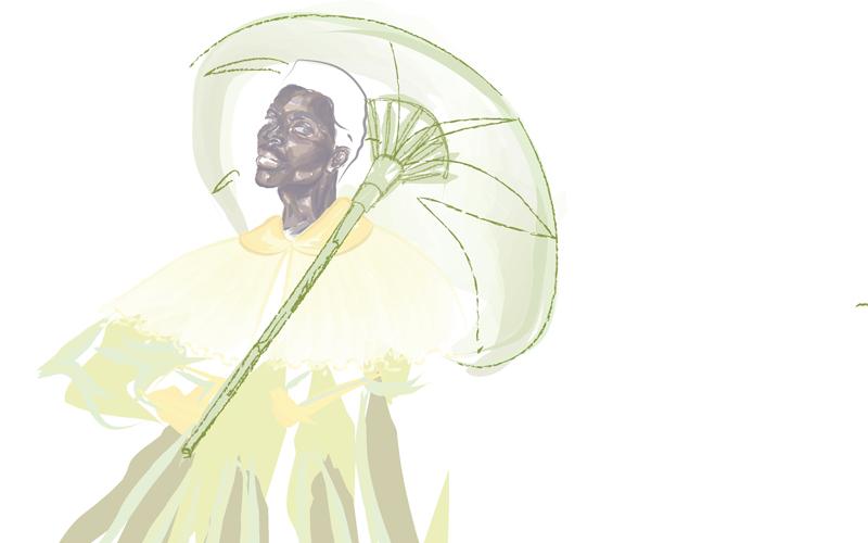 A digital fashion illustration of gender neutral clothing, by BA (Hons) Fashion student Sasha Potgieter