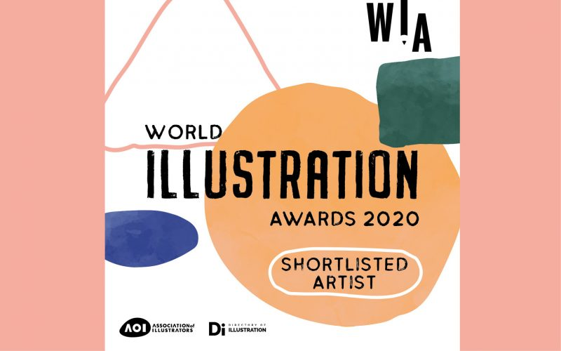 White square with colourful shapes on it and text reading World Illustration Awards Shortlist