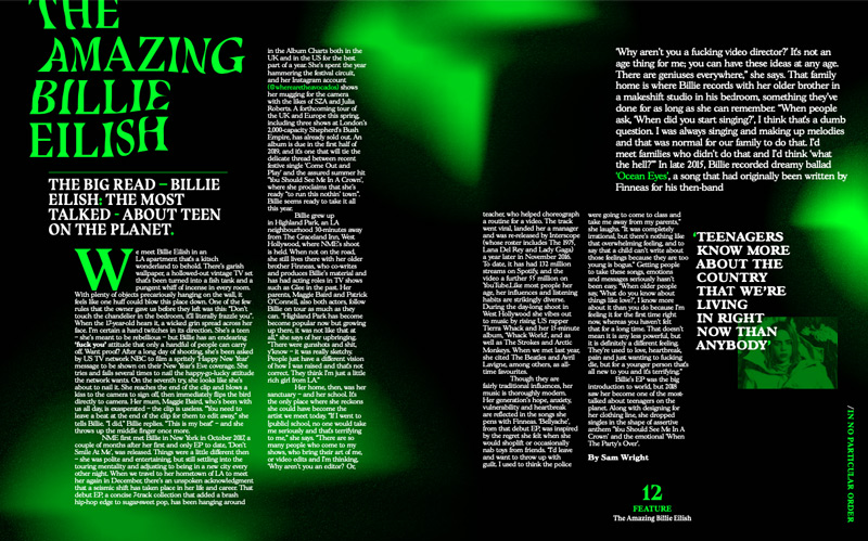 Neon green and black editorial (magazine) design on Billie Eilish by BA Design for Publishing student Ollie Turner.