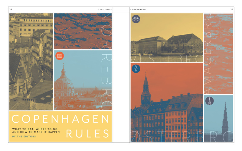 Editorial design by BA Design for Publishing student Phoebe Barker. Phoebe produced a city guide book on the Danish city of Copenhagen