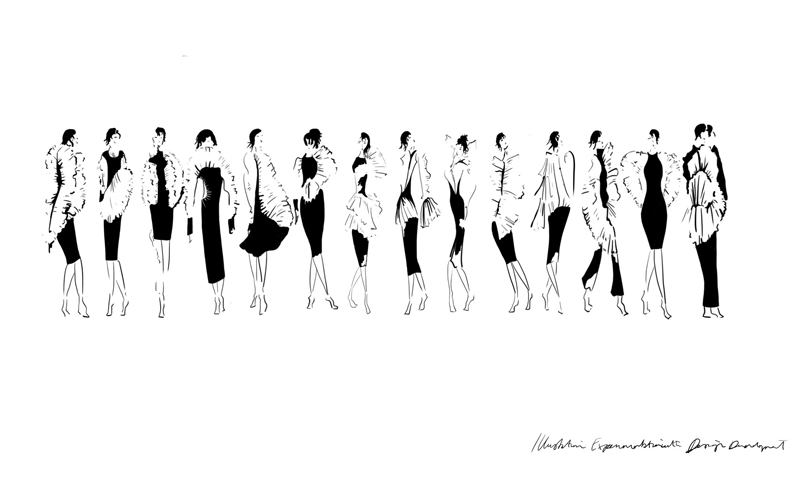Black and white womenswear fashion illustrations by BA Fashion student Emily Saunders. The image shows a row of illustrated women wearing different fits of black dress and accessories