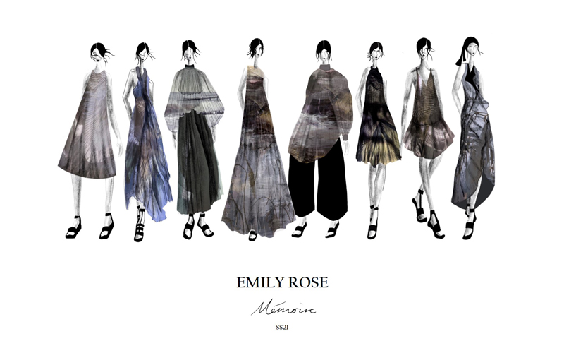 Illustrated womenswear collection titled 'Memoire' by BA Fashion student Emily Saunders