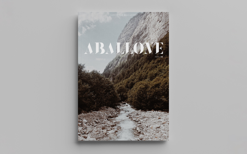 BA Design for Publishing graduates Toby McLaren and Hannah Roadknight's lifestyle magazine 'Aballone'. The magazine is laid flat on a grey background. The cover has a picture of a cool toned mountain scene with a rocky, watery pathway leading through foliage. 'Aballone' is typed in a white modern serif over the top of this scene.