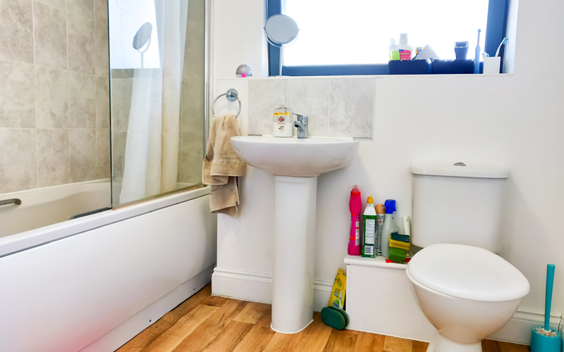 My Student Home: a look at twins Ethan and Molly Brown's shared bathroom area. There is a white bath with a shower, a sink and toilet space, and a large window above them.