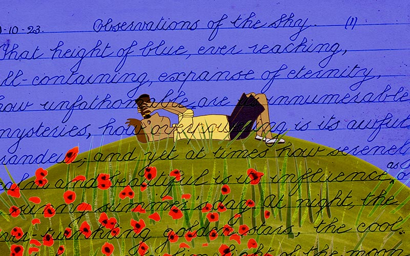 Animation still showing a blue sky and someone lying back on a green hill with poppies looking at the sky, the image overlaid with handwritten text