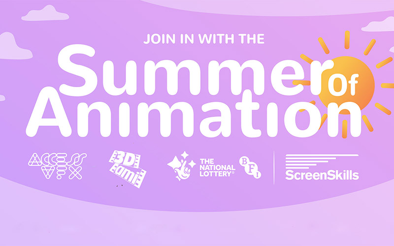Light purple background with white text reading Summer of Animation