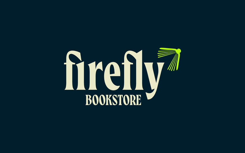 BA Graphic Communication students Tom Horbury and Chloe Kilgariff's logo for Firefly Bookstore, which won a YCN Commendation. The word 'Firefly' is typed lowecase in a serif font on a dark navy background, and coloured moon-white. A simple illustration of a book is coloured lime green, and hovers above the 'y' in firefly. The book looks like a firefly.