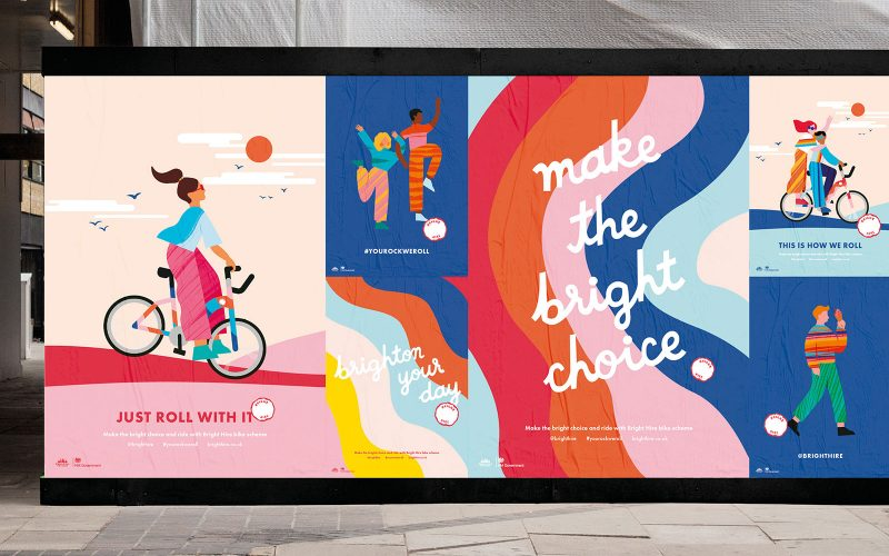 BA Graphic Design work by Erin Ruane showing a billboard with brightly coloured advertising, promoting 'Bright' a bike hire company
