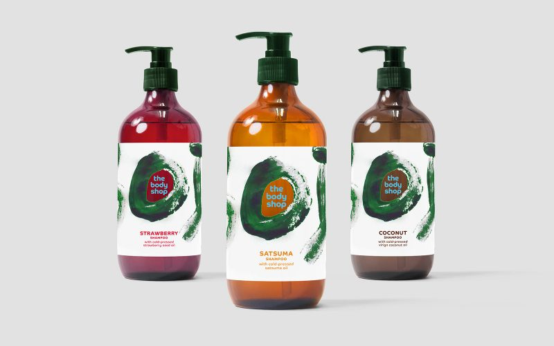 BA Graphic Design work by Lauren Kirby showing 3 bottles of mocked up Body Shop liquids with designed labels