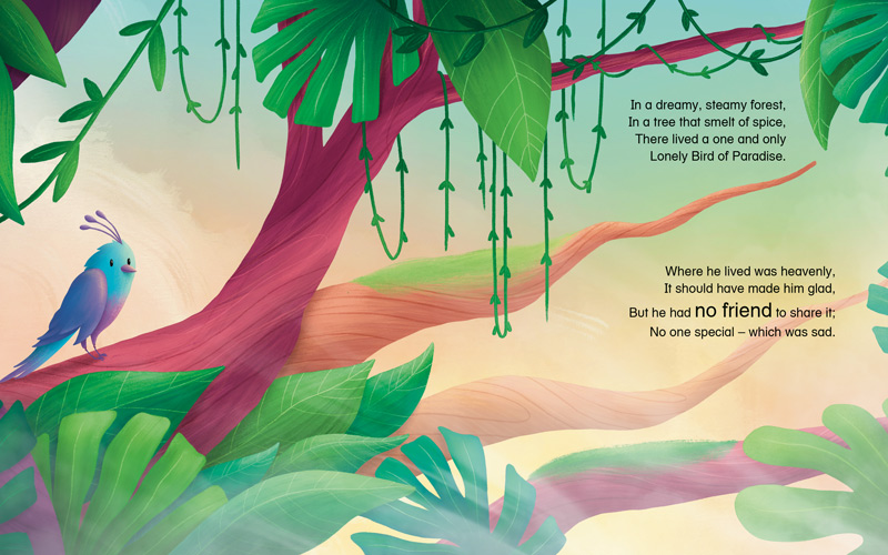 BA Illustration graduate Sophie Kent's highly commended entry into the Carmelite Prize. A digital illustration of a bird of paradise, coloured with blue and white feathers, sat on a deep red tree branch. The bird is surrounded by tropical green leaves. There is an orangey yellow hue in the sky, signalling early morning. Text on the right hand side says 'In a dreamy, steamy forest, in a nest that smelt of spice, there lived a one and only lonely bird of paradise. Where he lived was heavenly, it should have made him glad. But he had no friend to share it, no-one special, which was sad'