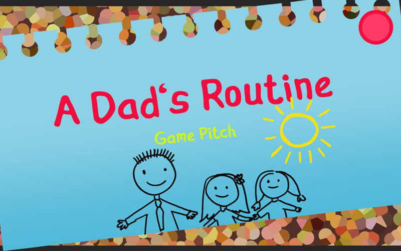 A still from a game showing a blue piece of paper pinned to a corkboard with a line drawing of a dad and two kids and the words A Dad's Routine