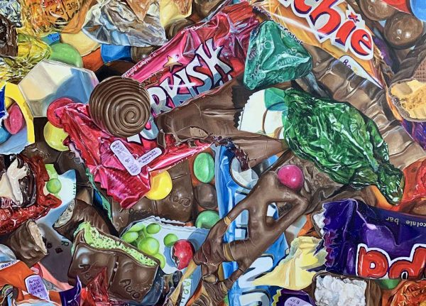Emilia Symis - Painting by Fine Art graduate Emilia Symis showing piles of chocolate in and out of their bright wrappers