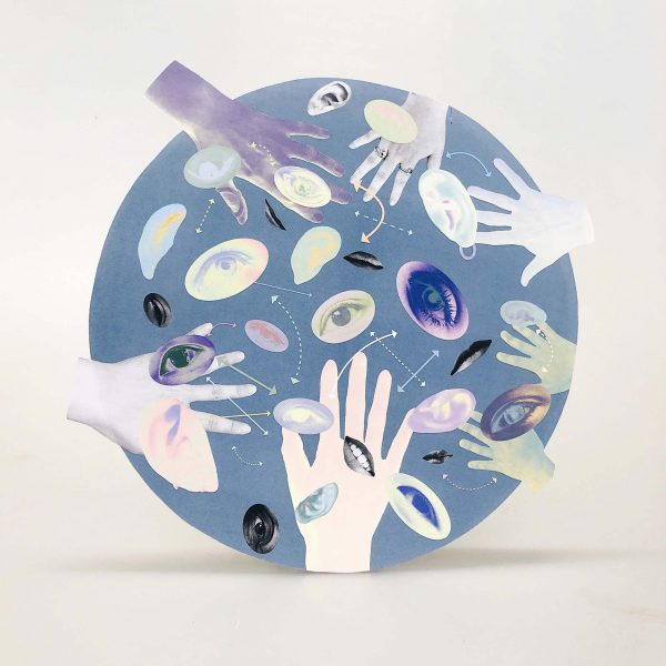 Hansol Yoo - Blue circle propped up with cut outs of eyes and hands collaged onto it