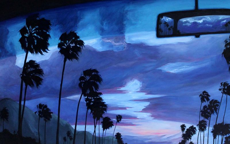 Painting by Illustration graduate Imogen Hawgood of a blue and purple dusk sky out of a car windscreen with silhouetted palm trees and rearview mirror reflecting the sky