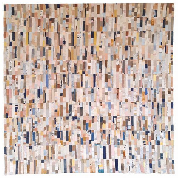 Lucie Summers - MA Textile Design work made up of lots of small rectangular pieces of fabric in pale pinks, creams, blues and greys