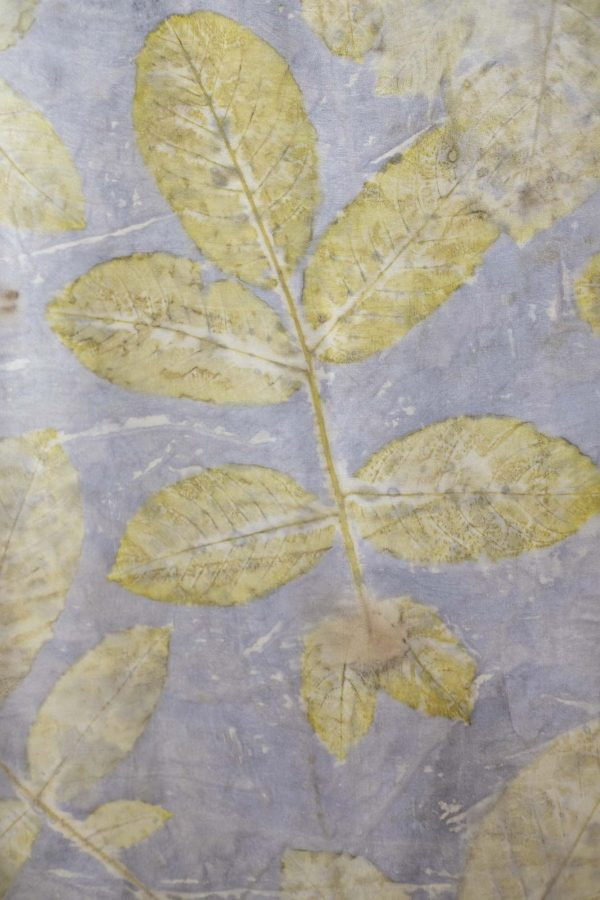 Maria Clarke-Wilson - Close up of MA Textile Design work showing a pale grey fabric background with pale gold leaf pattern