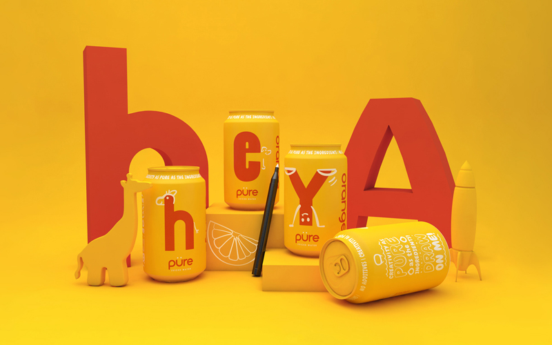 BA Graphic Design Graduates Ethan Brown, Ben Chamberlain and Ella Flood's gold winning Pentaward entry. Mockups of yellow drink cans are situated amongst rendered children's toys. The can's have red lettering on, each can spelling out 'Hey'.