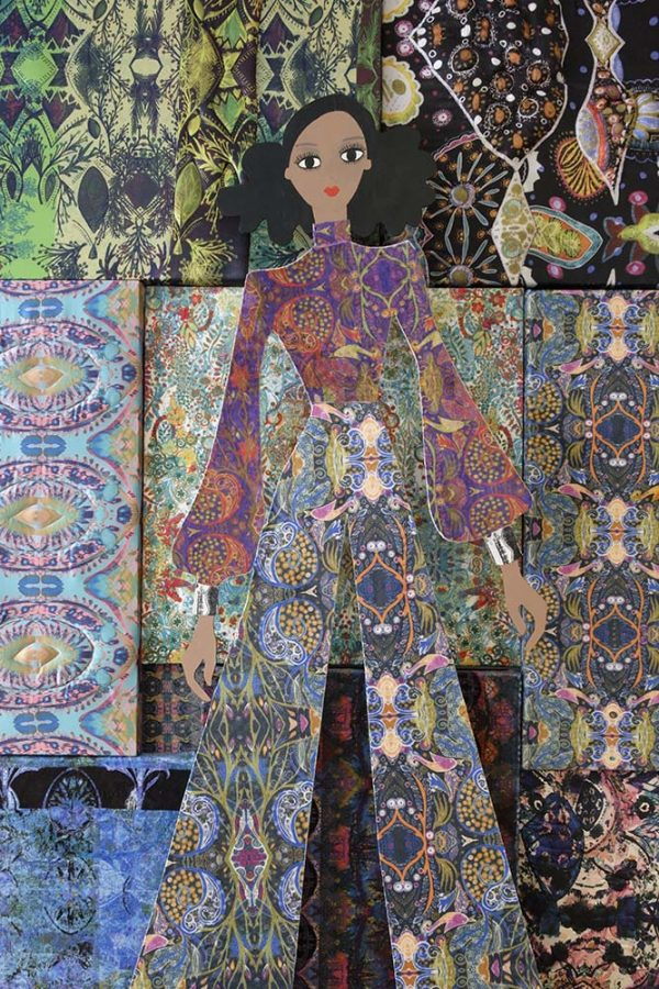 Naomi Povey - MA Textile Design work of a highly patterned wall with a wooden female figure in front wearing clothes in the same patterns