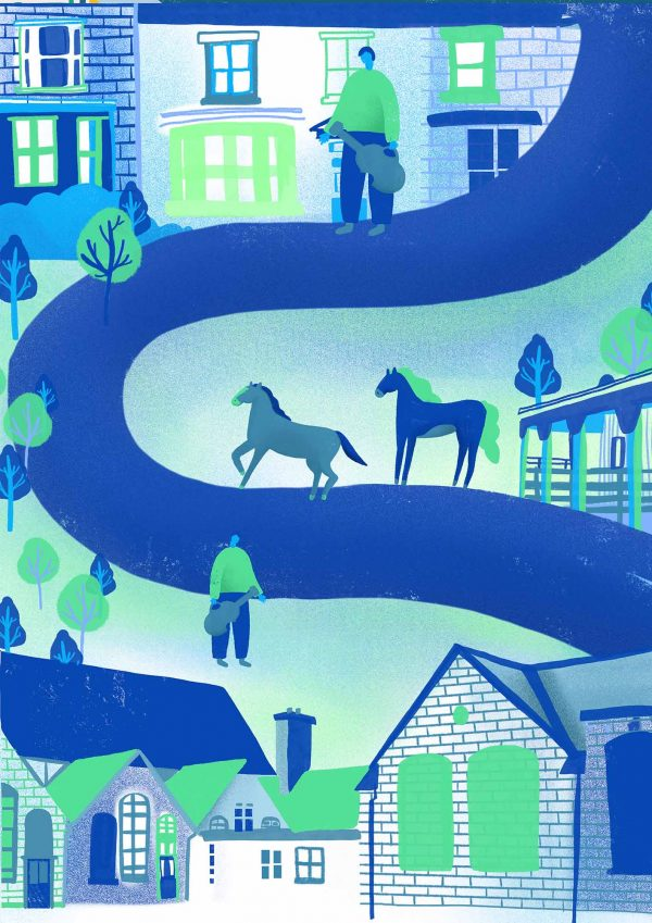 Sophie Cane - Illustration in bright blue and green showing a path weaving down the image with buildings, people and horses