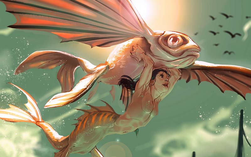 Artwork by Games Art and Design student Tiril Schjerven showing a coral fish with wings swimming with a mermaid underneath it