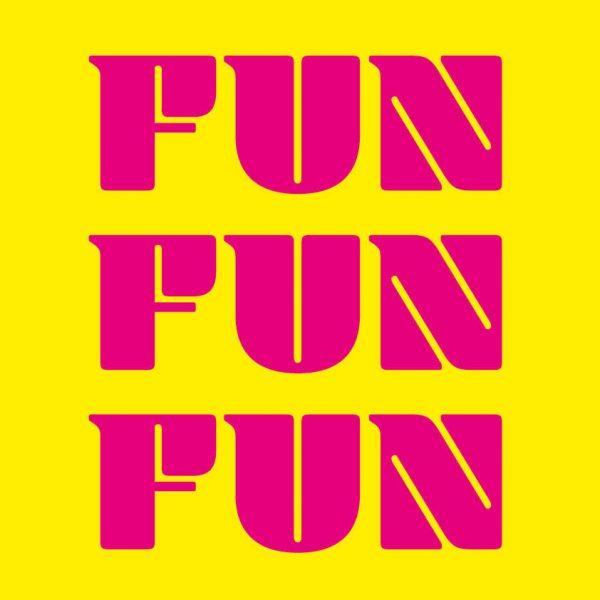 Alice Sharpe - Yellow square with the word Fun in bright pink repeated three times