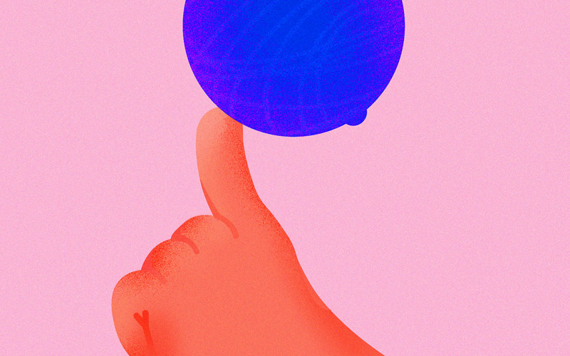 Winning illustration for YCN New Now x Camden Hells, by BA Graphic Design graduate Erin Ruane. A digital illustration of an orange hand on a pink background with a finger outstretched. On top of the finger is an orange-shaped fruit, coloured blue with a red leaf.