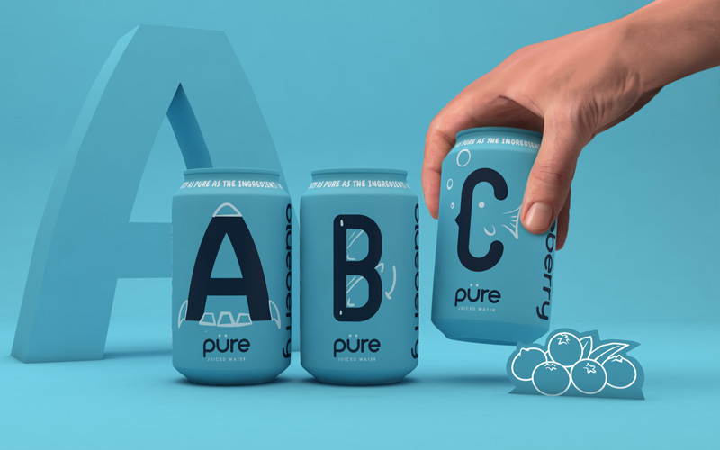 BA Graphic Design Graduates Ethan Brown, Ben Chamberlain and Ella Flood's gold winning Pentaward entry. Mockups of blue drink cans on a blue background, each with a letter A, B, C. The last can is being picked up by a hand.