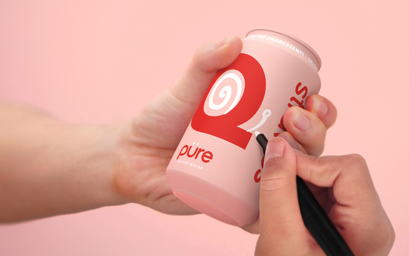 BA Graphic Design Graduates Ethan Brown, Ben Chamberlain and Ella Flood's gold winning Pentaward entry. A left hand is holding a mockup of a pink can. The can has a red letter Q on. In the right hand is a pen, being used to doodle on the can, turning the Q into a snail.
